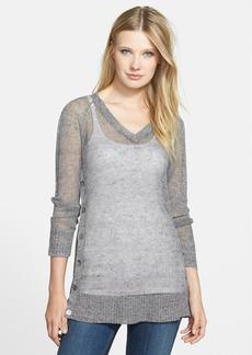 Eileen Fisher The Fisher Project Side Button V-Neck Linen & Cotton Top