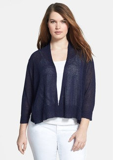 Eileen Fisher Three-Quarter Sleeve Crop Linen Blend Cardigan (Plus Size)
