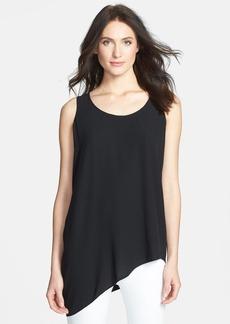Eileen Fisher U-Neck Side Drape Silk Shell (Petite)