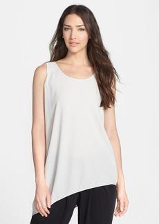 Eileen Fisher U-Neck Side Drape Silk Shell (Regular & Petite)