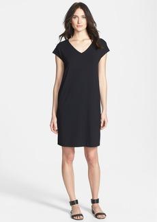 Eileen Fisher V-Neck Cap Sleeve Shift Dress (Petite)