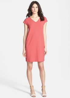 Eileen Fisher V-Neck Cap Sleeve Shift Dress (Regular & Petite)