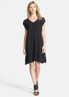 Eileen Fisher V-Neck Cap Sleeve Silk Dress