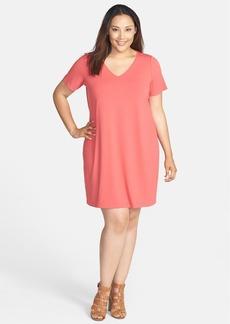 Eileen Fisher V-Neck Jersey Shift Dress (Plus Size)