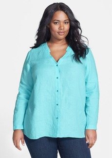 Eileen Fisher V-Neck Linen Shirt (Plus Size)