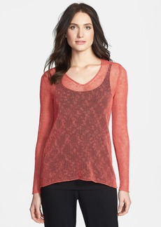 Eileen Fisher V-Neck Open Stitch Top