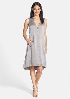 Eileen Fisher Washed Silk Charmeuse Mandarin Collar V-Neck Shift Dress
