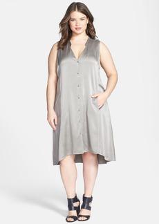 Eileen Fisher Washed Silk Charmeuse Mandarin Collar V-Neck Shift Dress (Plus Size)