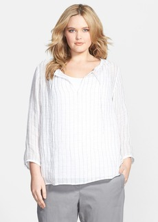 Eileen Fisher Wide Neck Boxy Linen Top (Plus Size)