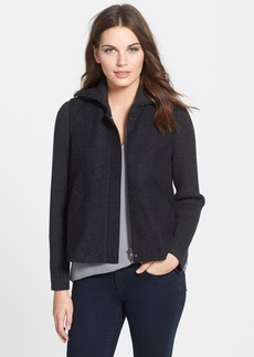 Eileen Fisher Wool Blend Jacket with Ribbed Contrast (Regular & Petite)