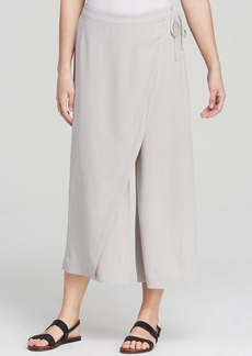 Eileen Fisher Wrap Front Wide Leg Cropped Silk Pants