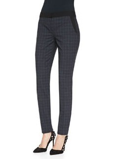 Alanis Plaid Ankle Pants, Navy   Alanis Plaid Ankle Pants, Navy