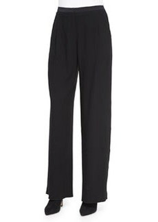 Alena Wide-Leg Pants W/ Satin Trim   Alena Wide-Leg Pants W/ Satin Trim