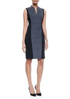 Amabel Sleeveless Sheath Dress W/ Jersey Sides   Amabel Sleeveless Sheath Dress W/ Jersey Sides