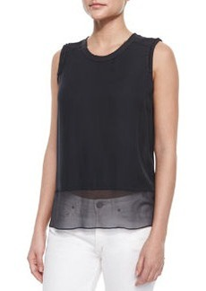 Amelie Sleeveless Raw-Edge Silk Blouse, Gray   Amelie Sleeveless Raw-Edge Silk Blouse, Gray