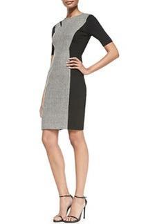 Axel Short-Sleeve Combo Sheath Dress   Axel Short-Sleeve Combo Sheath Dress