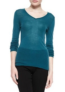 Barbara V-Neck Sweater, Jade   Barbara V-Neck Sweater, Jade