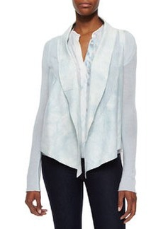 Caleigh Watercolor Suede-Front Jacket, White/Mint   Caleigh Watercolor Suede-Front Jacket, White/Mint