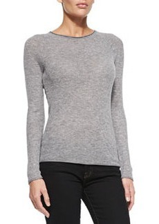 Carly Ribbed Long-Sleeve Sweater, Gray   Carly Ribbed Long-Sleeve Sweater, Gray