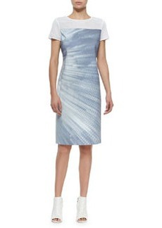 Cassie Printed Sheath Dress W/ Mesh   Cassie Printed Sheath Dress W/ Mesh