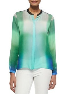 Chelsea Skyscape-Print Blouse, Green/Blue/White   Chelsea Skyscape-Print Blouse, Green/Blue/White