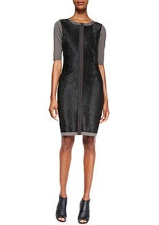Coralie Elbow-Sleeve Leather-Front Dress   Coralie Elbow-Sleeve Leather-Front Dress