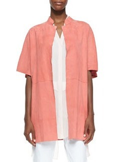 Delilah Short-Sleeve Suede Jacket, Peach   Delilah Short-Sleeve Suede Jacket, Peach