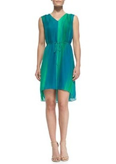 Dorene Sleeveless High-Low Silk Dress   Dorene Sleeveless High-Low Silk Dress