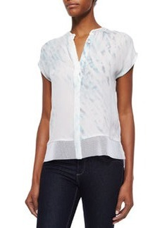 Dylan Short-Sleeve Button-Front Blouse, White   Dylan Short-Sleeve Button-Front Blouse, White