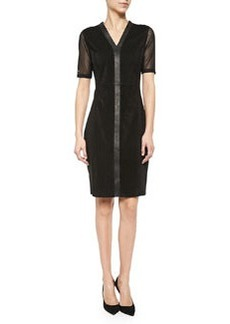 Eleanor Mesh & Leather Sheath Dress   Eleanor Mesh & Leather Sheath Dress