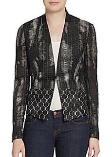 Elie Tahari Abby Leather-Trimmed Textured Blazer