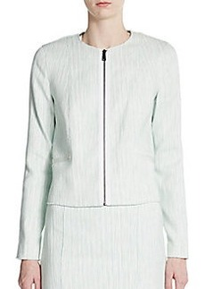 Elie Tahari Adelaide Zip Front Tweed Jacket