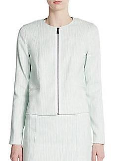 Elie Tahari Adelaide Zip Front Tweed Jacket