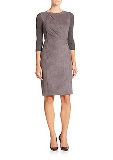Elie Tahari Agustine Faux Suede & Knit Dress