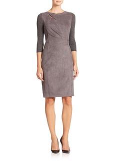 Elie Tahari Agustine Faux Suede & Knit Dress