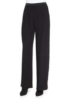 Elie Tahari Alena Wide-Leg Pants W/ Satin Trim  Alena Wide-Leg Pants W/ Satin Trim