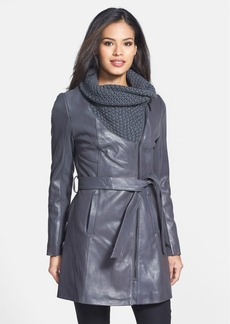 Elie Tahari 'Alexandra' Knit Collar Belted Leather Coat