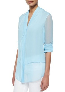 Elie Tahari Alissa Tab-Sleeve Double Georgette Blouse  Alissa Tab-Sleeve Double Georgette Blouse