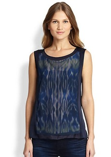 Elie Tahari Allison Mixed-Media Blouse