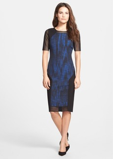 Elie Tahari 'Alyssa' Mesh Detail Colorblock Sheath Dress