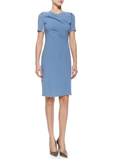 Elie Tahari Amymarie Short-Sleeve Dress W/ Side Pleat  Amymarie Short-Sleeve Dress W/ Side Pleat
