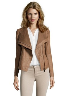 Elie Tahari 'Andreas'- sand lambskin asymmetrical zip jacket