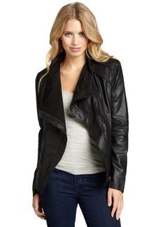 Elie Tahari 'Andreas' black lambskin asymmetrical zip jacket