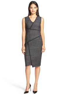 Elie Tahari 'Angela' Asymmetrical Tweed Panel Sheath Dress