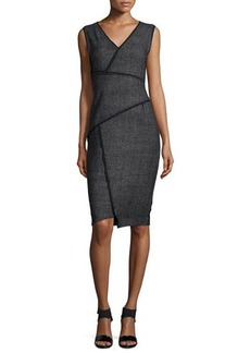 Elie Tahari Angela Sleeveless Sheath Dress W/Contrast Seams