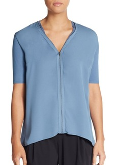 Elie Tahari Ann Knit-Sleeve Silk Blouse