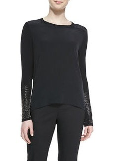 Elie Tahari Anna Blouse with Long Studded Sleeves