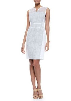 Elie Tahari Anya Sleeveless Whitened Tweed Dress
