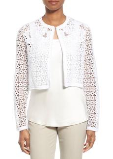 Elie Tahari 'Astor' Cotton Eyelet Crop Jacket