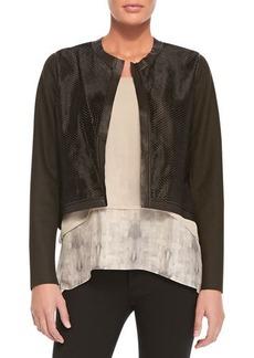 Elie Tahari Astor Cropped Perforated Jacket